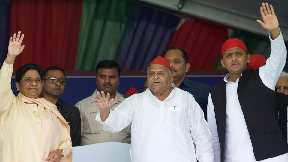 BSP chief Mayawati, SP leaders Mulayam Singh Yadav and Akhilesh Yadav at Mainpuri election rally on Friday.