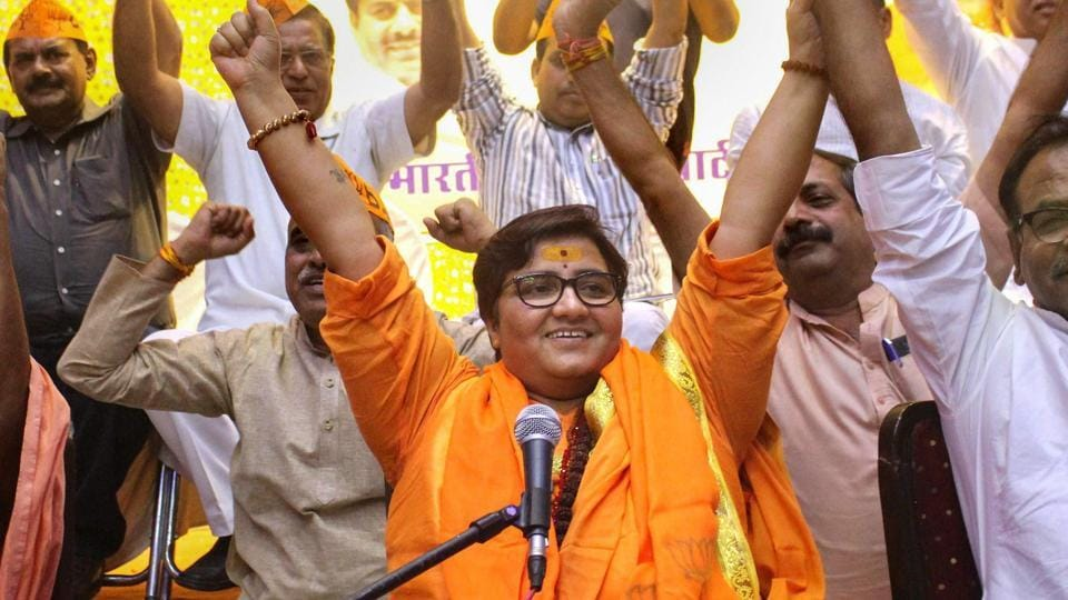 BJP's Bhopal  candidate Sadhvi  Pragya Singh Thakur at a workers' meeting in the city.