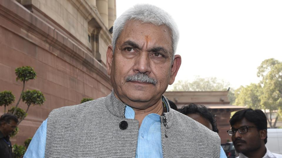New Delhi, India- Ferberary 24, 2016: MoS Railway Manoj Sinha after attending the Parliament Budget Session 2016, in New Delhi on February 24, 2016. ( Photo by Sonu Mehta/ Hindustan Times)