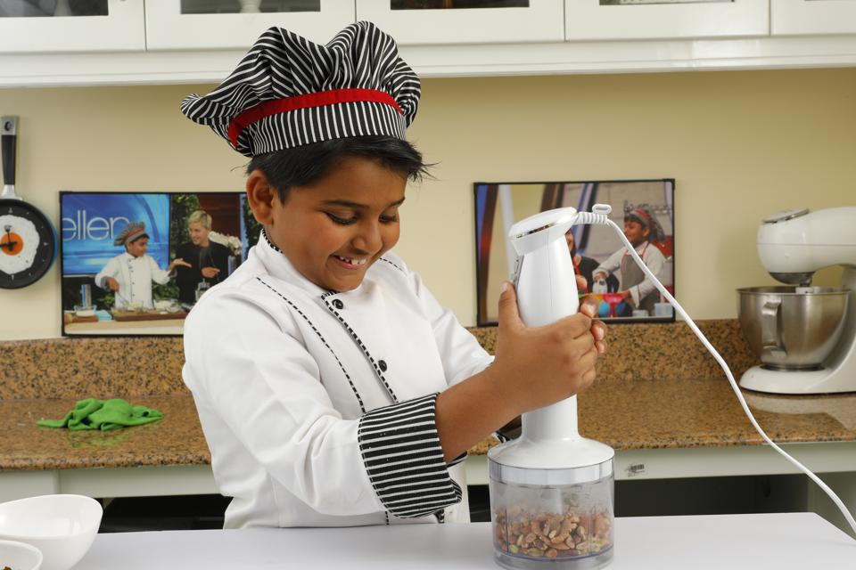 Nihal Rajagopalan, 9, chats as he cooks, discusses textures and flavours like a pro, and says he wants to be an astronaut chef when he grows up.