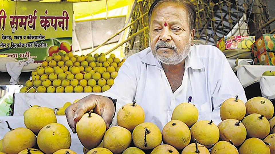 The price of mangoes has not changed much as compared to last year. A mango vendor at Mahatma Phule Mandai.