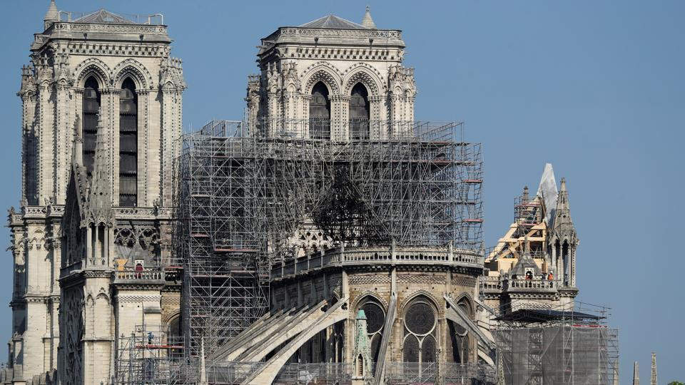 Scaffolding is seen at Notre Dame cathedral in Paris, France, April 20, 2019. REUTERS/Yves Herman
