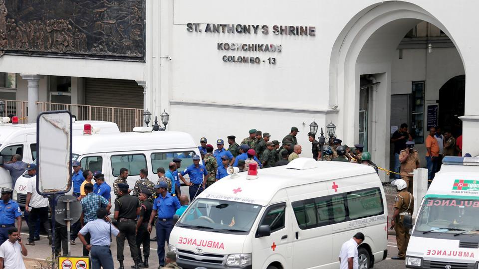 Sri Lanka, April 21 (ANI): Sri Lankan military officials stand guard in front of the St. Anthony's Shrine, Kochchikade church after an explosion in Colombo, Sri Lanka on Sunday