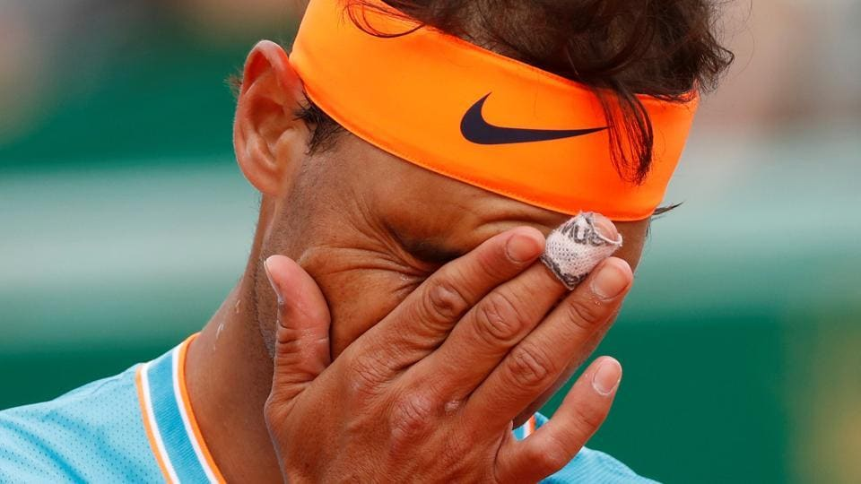 pain's Rafael Nadal reacts during his semi final match against Italy's Fabio Fognini