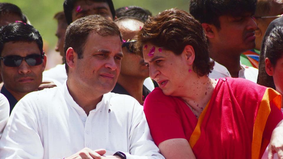 Rahul Gandhi and Priyanka Gandhi Vadra during roadshow in Amethi .