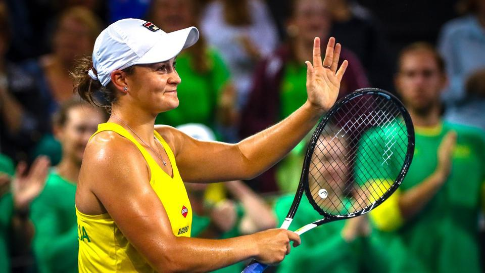 Ashleigh Barty of Australia celebrates her victory over Victoria Azarenka of Belarus during their first round match of the Fed Cup tennis semi-final between Australia and Belarus