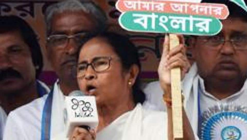 West Bengal Chief Minister Mamata Banerjee addresses an election rally in Murshidabad LokSabha constituency, which goes to polls on April 23 with four other seats.