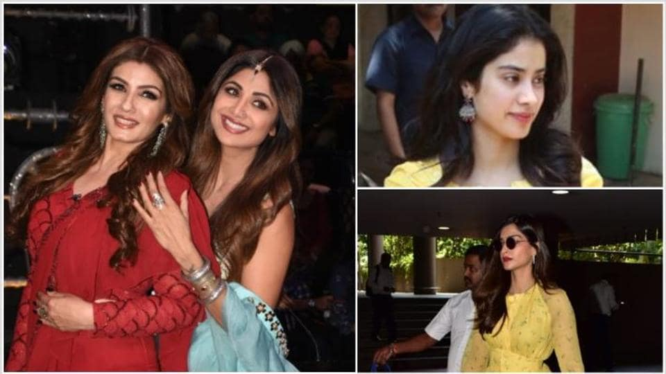 Raveena Tandon and Shilpa Shetty on sets of Super Dancer, Janhvi Kapoor at her gym and Sonam Kapoor at the airport.