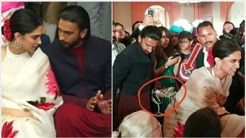 Ranveer Singh holds wife Deepika Padukone's heels at a wedding, now fans want a husband just like him