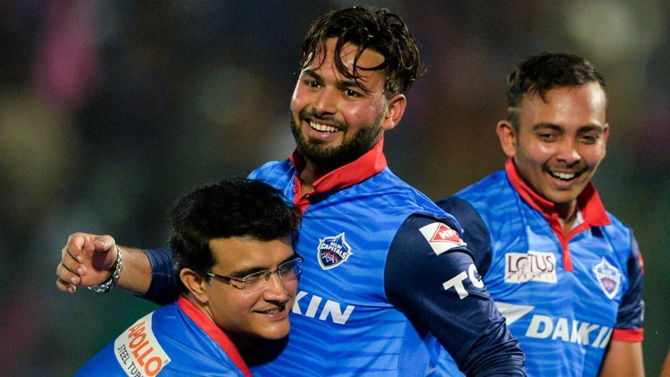 Delhi Capitals team mentor Sourav Ganguly (L) picks up Rishabh Pant (R) as they celebrate after winning the match during the 2019 Indian Premier League (IPL) Twenty20 cricket match between Rajasthan Royals and Delhi Capitals at the Sawai Mansingh Stadium in Jaipur on April 22, 2019