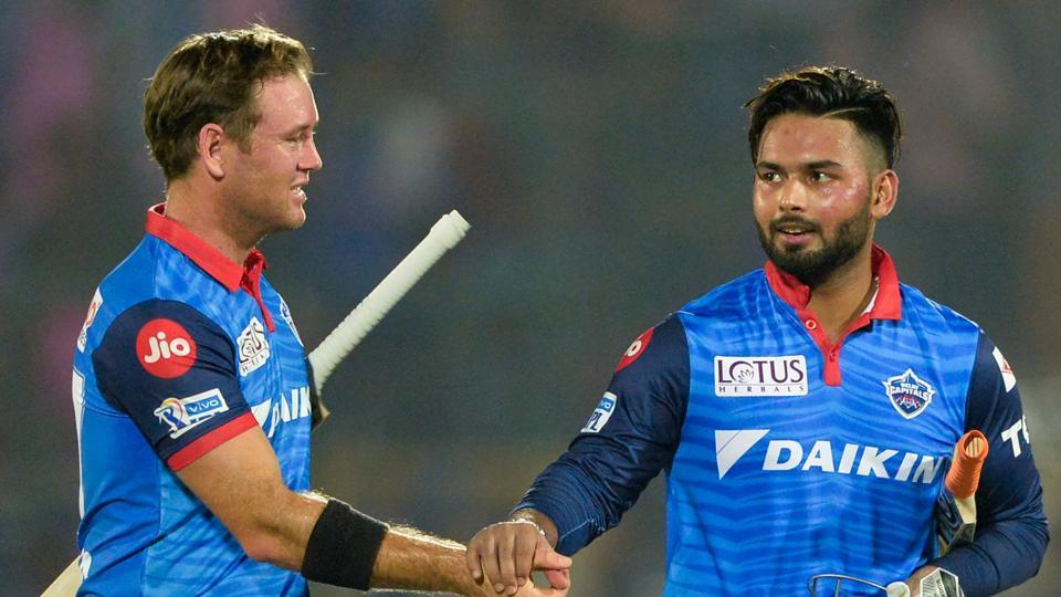 Delhi Capitals cricketer Rishabh Pant (R) shakes hand with Colin Ingram. (AFP)
