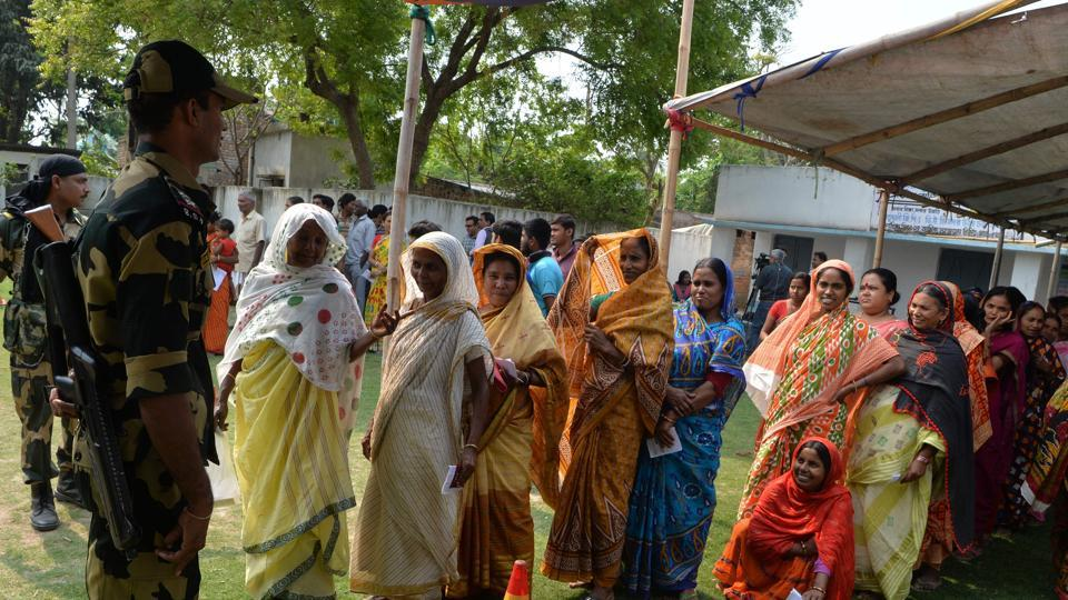 Voters outside a polling station in Malda, West Bengal.