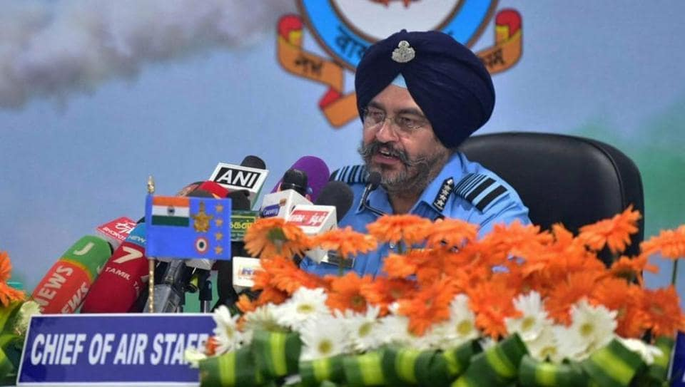 Air Chief Marshal BS Dhanoa addresses a press conference at Sulur Air Force Station, in Coimbatore, March 4, 2019. In the recent India-Pakistan crisis, two major claims of the Indian Air Force (IAF) have been called into question
