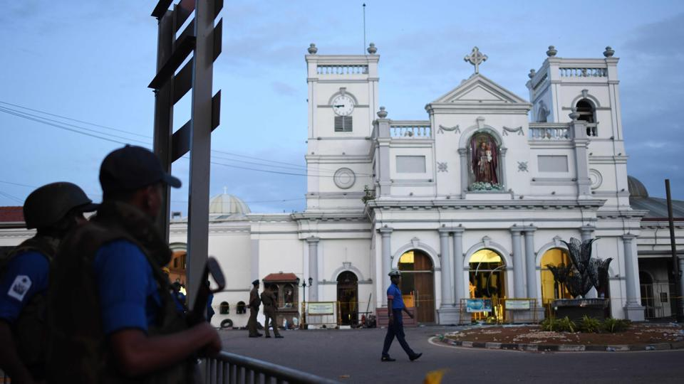 Security personnel stand guard outside St. Anthony's Shrine in Colombo on April 23, 2019, two days after the church was hit in a series of bomb blasts targeting churches and luxury hotels in Sri Lanka.