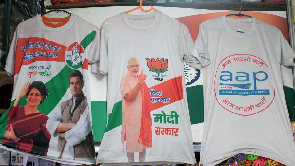 Branding of different political parties can be seen on t-shirts in Delhi's Sadar Bazar.