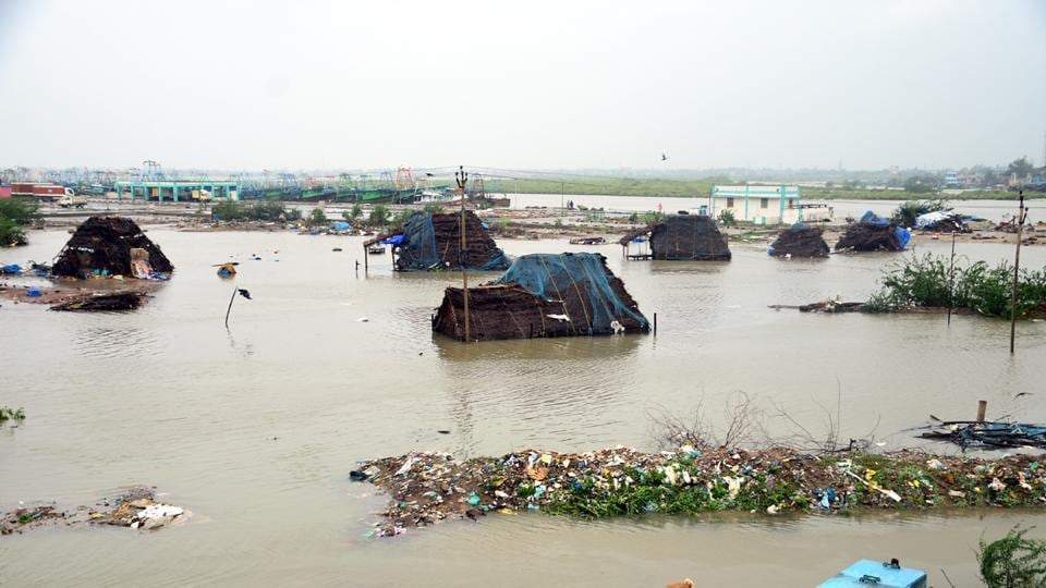 A view of Akkaraippettai, a fishing hamlet which was surrounded by water after cyclone Gaja  lashed Nagapattinam district, Tamil Nadu on  November 17, 2018.