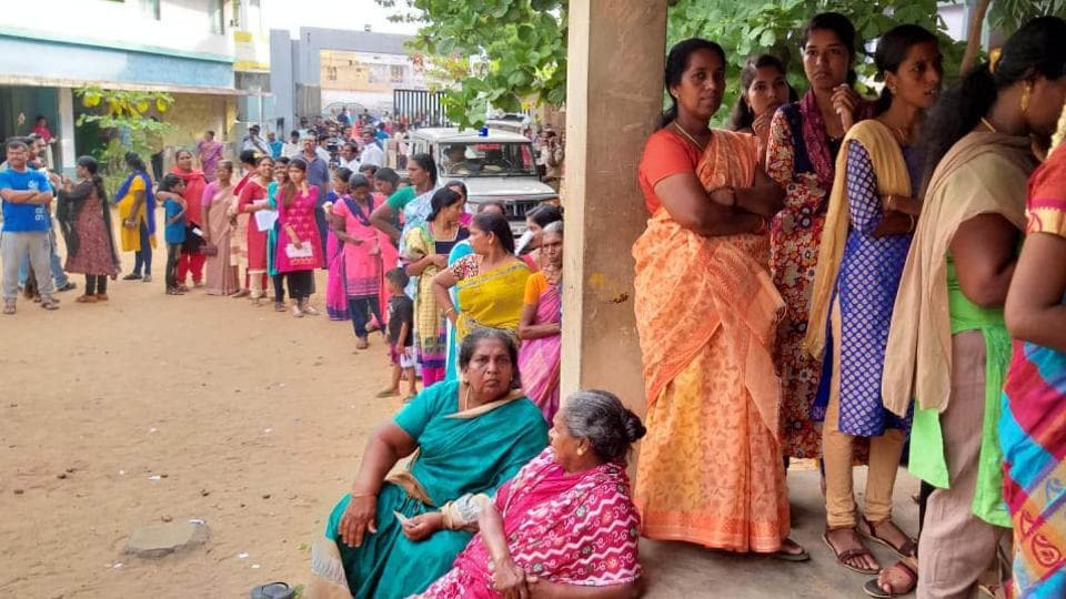 Women sanding in queue to cast their votes for third phase of Lok  Sabha general elections 2019 in Wayanad on Tuesday.