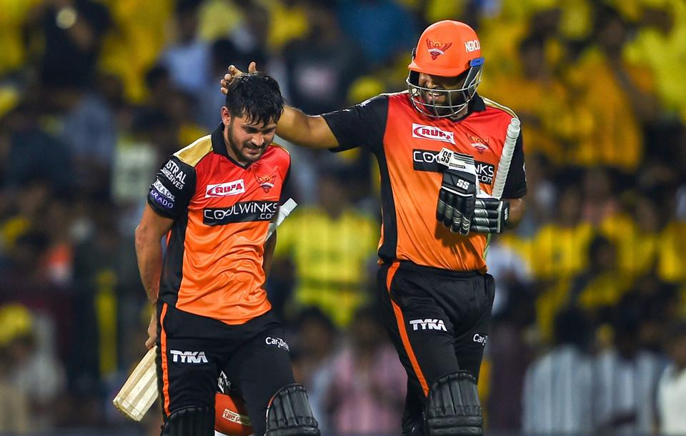 Chennai: SRH batsmen Manish Pandey and Yusuf Pathan leave the field after their innings during the Indian Premier League 2019 (IPL T20) cricket match between Chennai Super Kings (CSK) and Sunrisers Hyderabad (SH), at MAC Stadium in Chennai. (PTI)