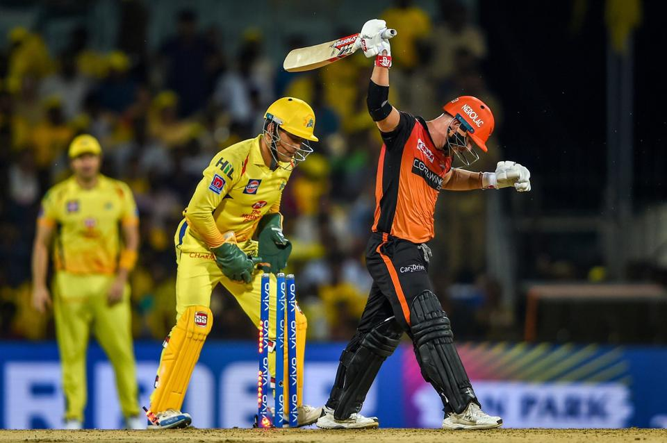 Chennai: SRH batsman David Warner reacts after being stumped out by CSK skipper-wicketkeeper MS Dhoni during the Indian Premier League 2019 (IPL T20) cricket match between Chennai Super Kings (CSK) and Sunrisers Hyderabad (SH), at MAC Stadium in Chennai. (PTI)
