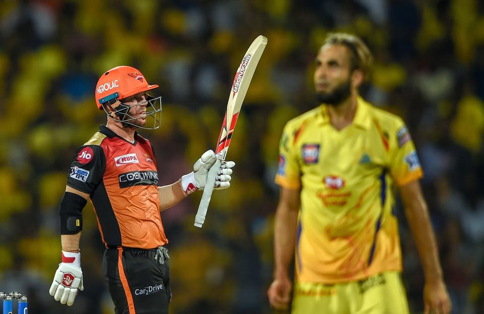 Chennai: SRH player David Warner celebrates his half century during the Indian Premier League 2019 (IPL T20) cricket match between Chennai Super Kings (CSK) and Sunrisers Hyderabad (SH) at MAC Stadium in Chennai. (PTI)