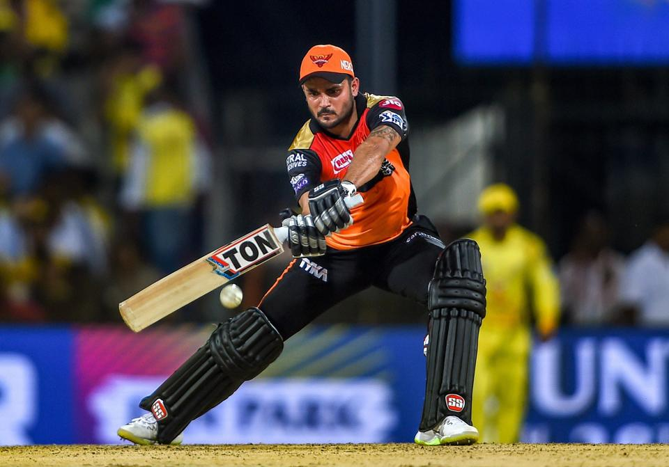 Chennai: SRH batsman Manish Pandey plays a shot during the Indian Premier League 2019 (IPL T20) cricket match between Chennai Super Kings (CSK) and Sunrisers Hyderabad (SH), at MAC Stadium in Chennai. (PTI)