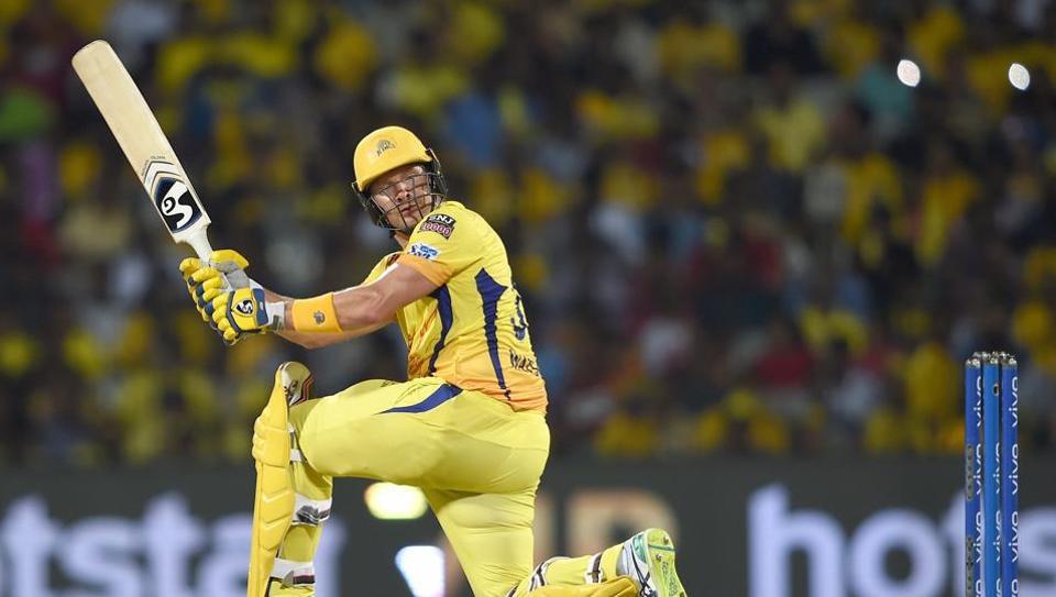 Chennai: CSK batsman Shane Watson plays a shot during the Indian Premier League 2019 (IPL T20) cricket match between Chennai Super Kings (CSK) and Sunrisers Hyderabad (SH) at MAC Stadium in Chennai, Tuesday, April 23, 2019