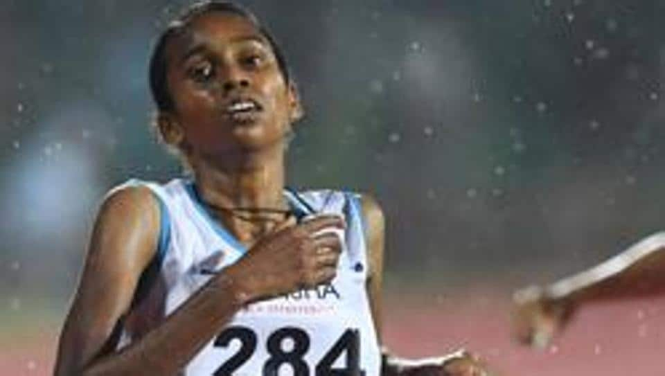 Indian athlete Chitra P.U competes in the women's 1500m event.
