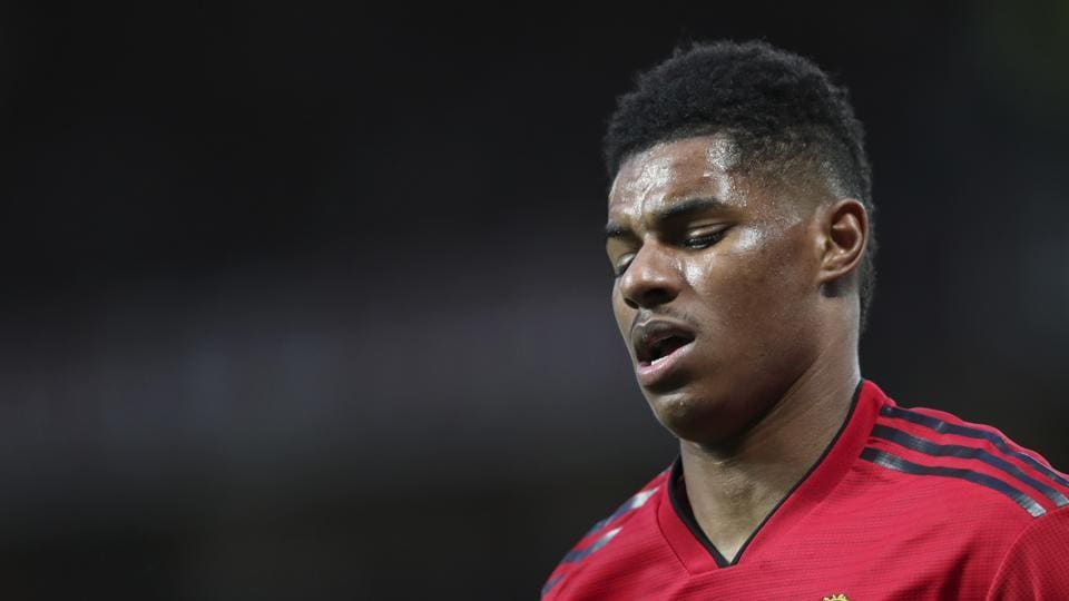 Manchester United's Marcus Rashford reacts after a clash during the English Premier League soccer match between Manchester United and Manchester City at Old Trafford Stadium in Manchester, England, Wednesday April 24, 201