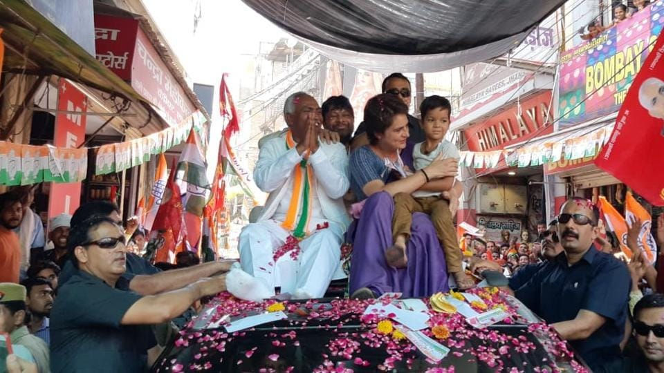 Congress General Secretary for Uttar Pradesh (East) Priyanka Gandhi Vadra seen during a roadshow in Jhansi. She is scheduled to address a public meeting in Ghursarai area of the Jhansi parliamentary constituency. (ANI)