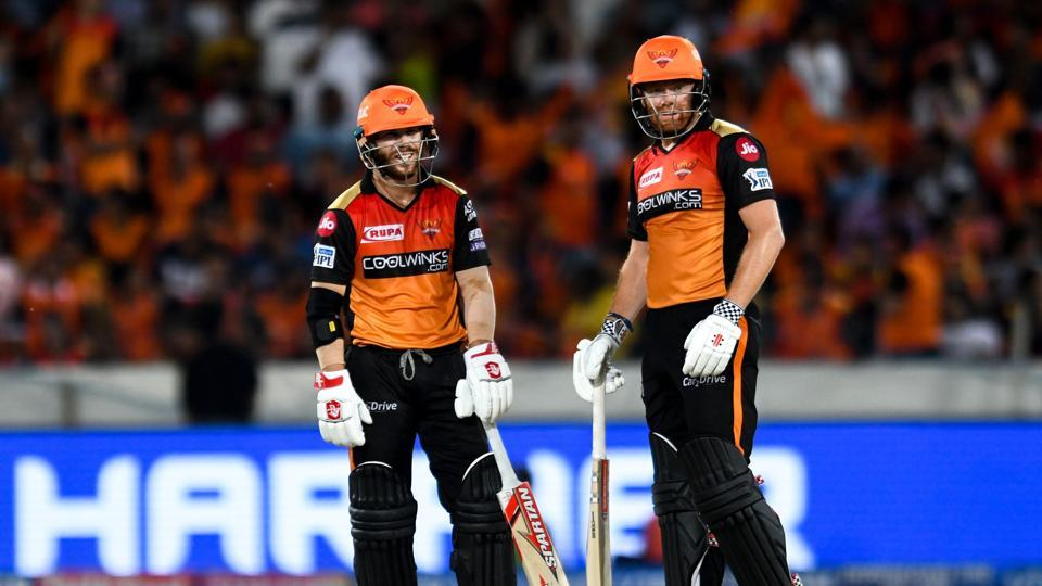 Sunrisers Hyderabad cricketers David Warner (L) and Jonny Bairstow