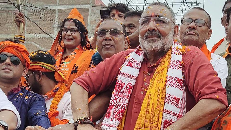 Union minister and BJP candidate Giriraj Singh during a road show after filing his nomination papers for Lok Sabha polls, in Begusarai, Saturday, April 6, 2019.