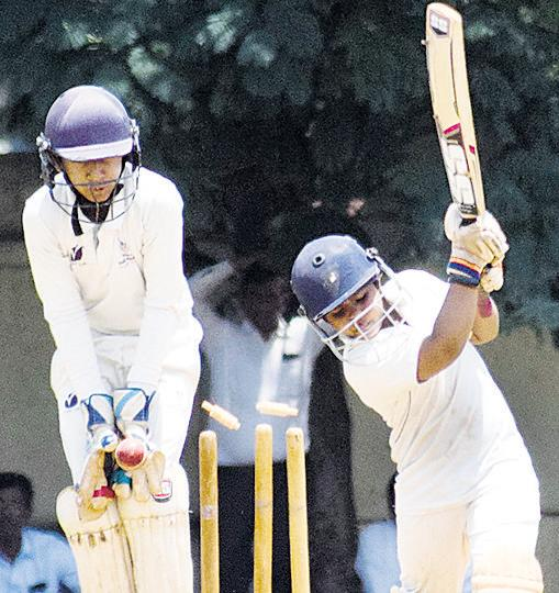 Om Malasare of HK Bounce Academy bowled by Anshul Hampayya (not in picture) of Varroc A-team in the under-12 Varroc cup at Varroc Vengserkar Cricket Academy grounds on Wednesday.