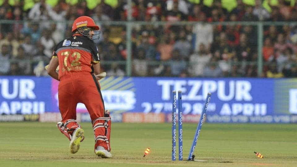 Parthiv Patel, of Royal Challengers Bangalore, is clean bowled on a no ball. (AP)