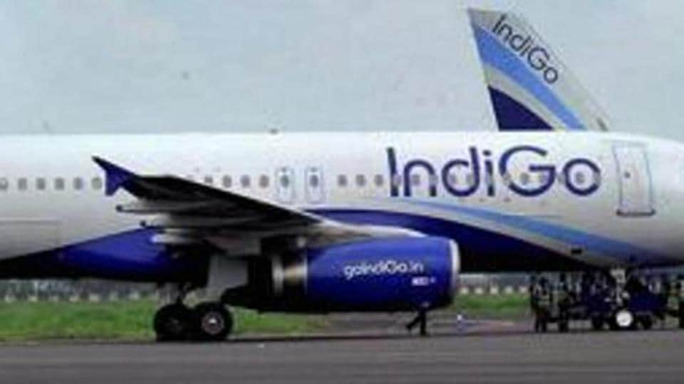 IndiGo plane gets ready to take off.