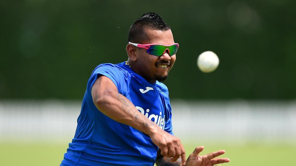 Sunil Narine of West Indies bowls during a nets session at ICC Cricket Academy on September 17, 2016 in Dubai, United Arab Emirates.