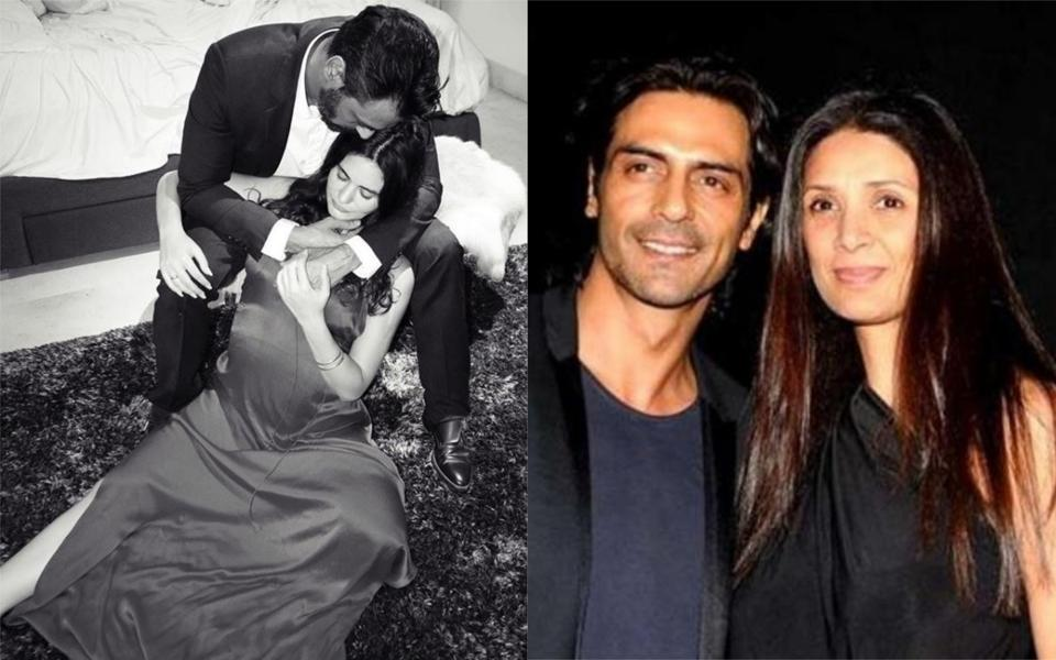 Arjun Rampal and girlfriend Gabriella Demetriades (left) announced their pregnancy earlier this week, and with Mehr Jesia (right).