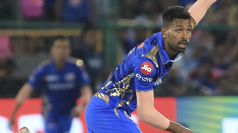 Mumbai Indians' Hardik Pandya bowls during a match in IPL 2019.