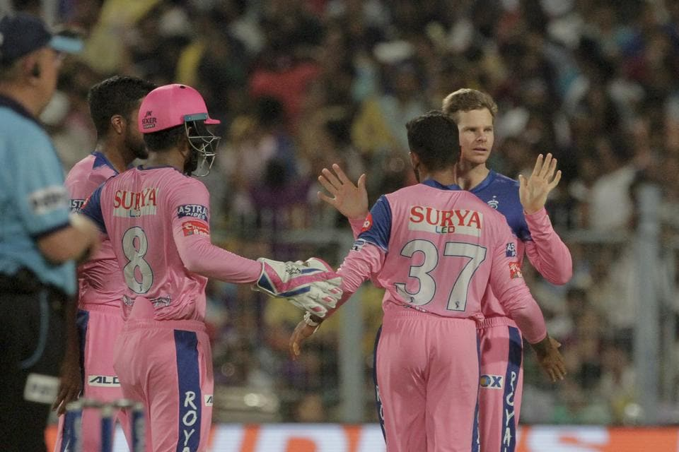 The Rajasthan Royals put the Kolkata Knight Riders under pressure by picking up wickets at regular intervals. (AP)
