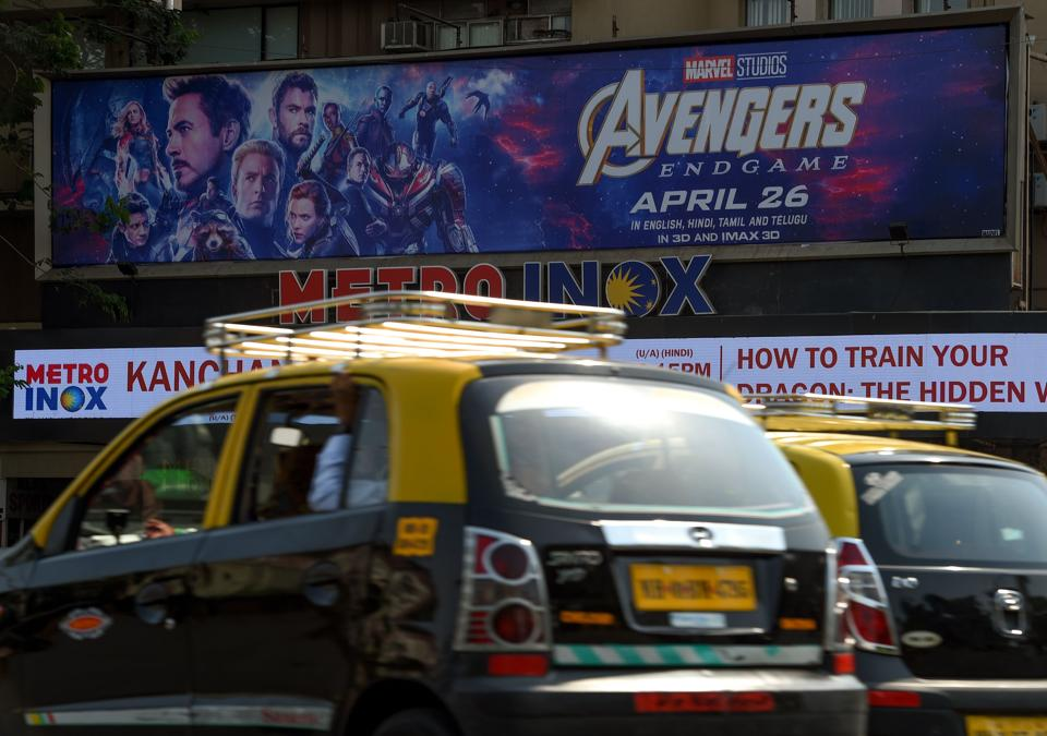 An Indian movie theatre displaying a poster of Avengers: Endgame, in Mumbai.
