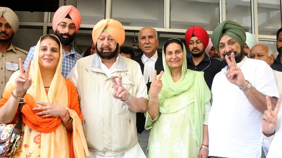 Congress candidate Preneet Kaur with her husband Punjab CM Captain Amarinder Singh, son Raninder Singh and daughter Jai inder Kaur and grandson Nirvan Singh after submitting the nomination papers in Patiala on Friday.