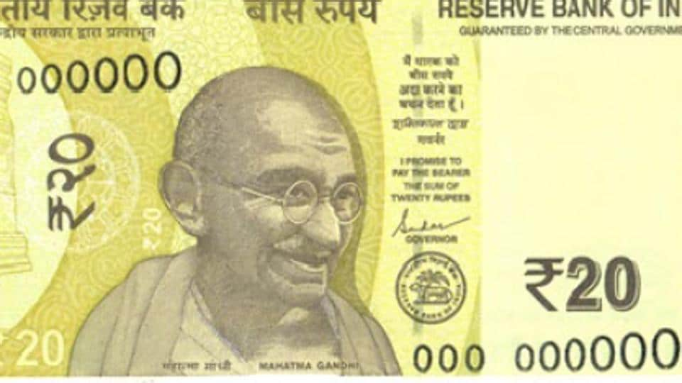 The new  Rs 20 notes will come in a Greenish Yellow colour.