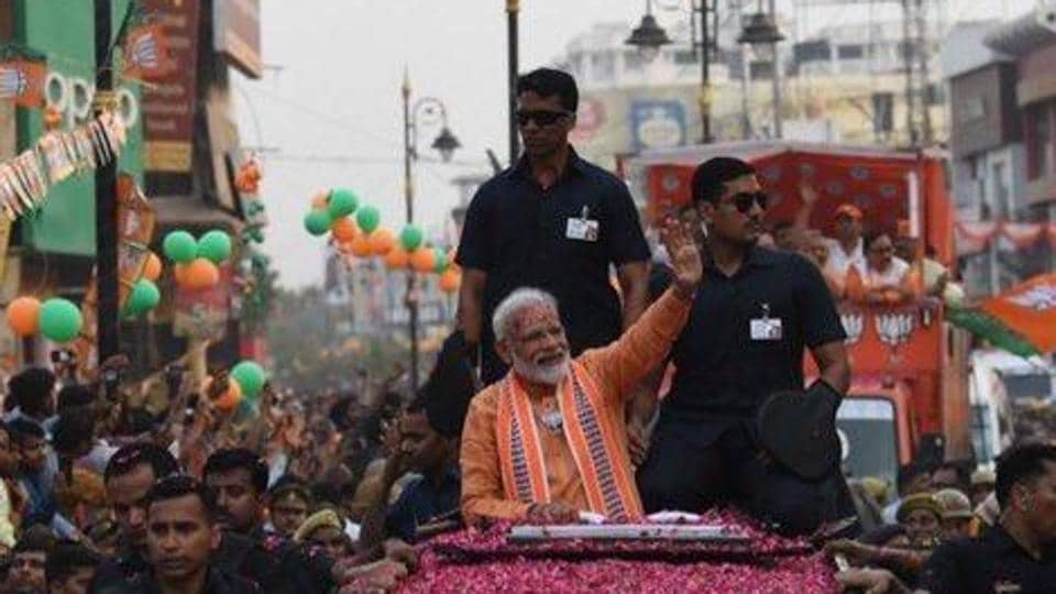 The prime minister held a roadshow on April 25, a day before filing his nomination paper from the Varanasi Lok Sabha seat, which he won in 2014. The six-kilometre roadshow culminated at the Dashashwamedha ghat, where Modi offered evening prayers.