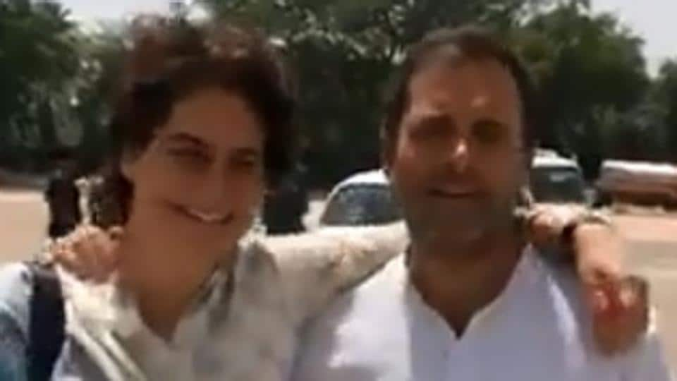 Congress president Rahul Gandhi and the party's general secretary and in charge of Eastern UP Priyanka Gandhi on Saturday found the oddest of places to run into each other.
