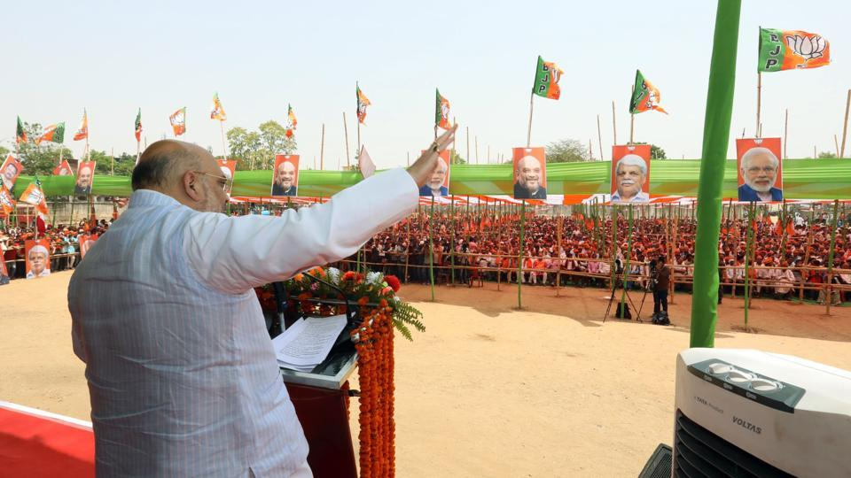 BJP National President Amit Shah addresses at an election meeting in Daltonganj ,Jharkhand on Saturday.