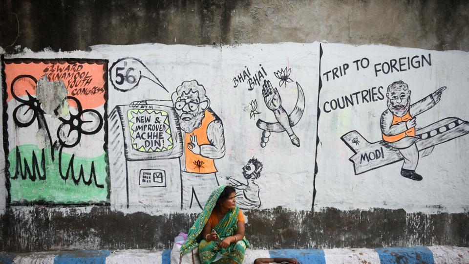 A Trinamool Congress wall graffiti seen on Alimuddin Street near CPI (M) headquarter in Kolkata.