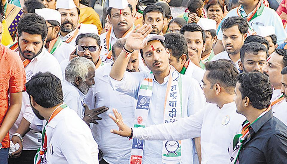Parth Pawar, Nationalist Congress Party Lok Sabha candidate from Maval, at a public rally in Talegaon on Friday.