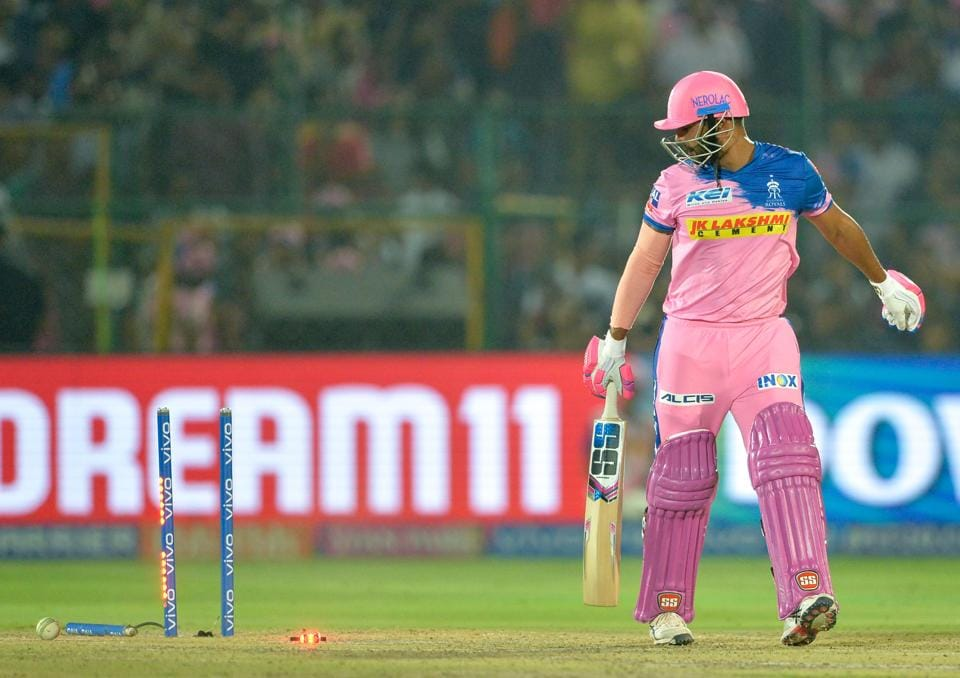 Rajasthan Royals cricketer Stuart Binny looks towards the wickets after he was bowled out by Delhi Capitals bowler Kagiso Rabada during the 2019 Indian Premier League (IPL) Twenty20 cricket match between Delhi Capitals and Rajasthan Royals at the Sawai Mansingh Stadium in Jaipur on April 22, 2019.