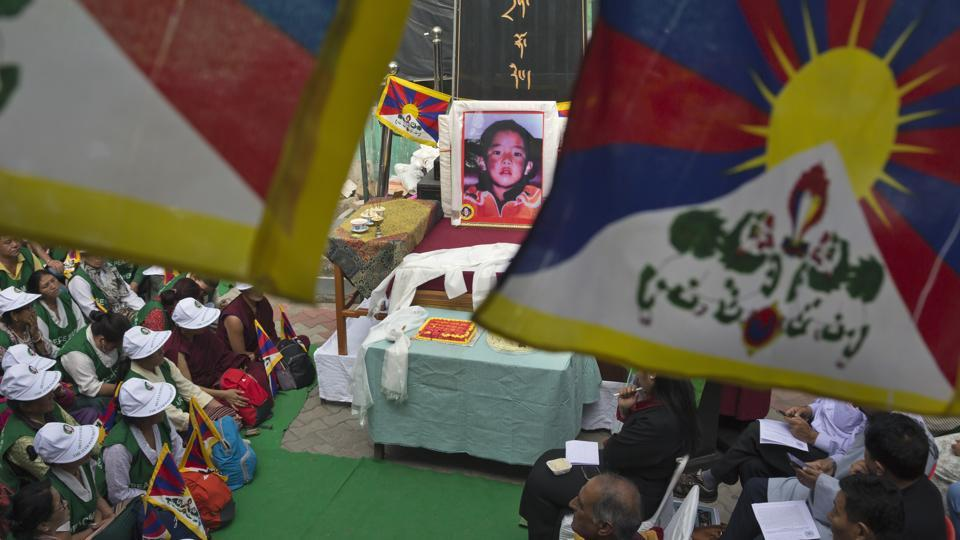 Tibetans in exile mark the birthday of the 11th Panchen Lama, Gedhun Choeki Nyimi, an important religious leader second only to the Dalai Lama in the Tibetan Buddhist hierarchy, and who has been abducted by Chinese authorities and held as a political prisoner, in Dharmsala, Himachal Pradesh.  (Ashwini Bhatia / AP)