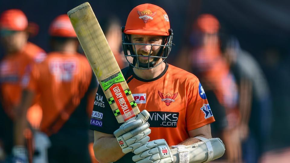 Sunrisers Hyderabad cricketer Kane Williamson bats in the nets during a training session.
