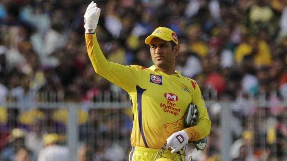 Chennai Super Kings' MS Dhoni gestures to fielders during the Indian Premier League (IPL) 2019.